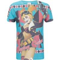 DC Comics Mens Bombshell Harley Quinn T-Shirt - Blue - M