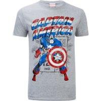 Marvel Mens Captain America Retro T-Shirt - Sports Grey - XL - Green