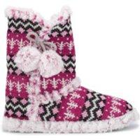 Dunlop Womens Abelle Fairisle Slipper Boots - Fuchsia - S/UK 3-4 - Pink