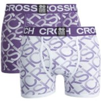 Crosshatch Men's Equalizer 2-Pack Boxers - Purple Rain/White - XXL - Purple/White - Boxers Gifts