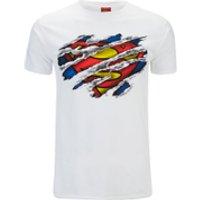 DC Comics Men's Superman Torn Logo T-Shirt - White - S - White - Superman Gifts
