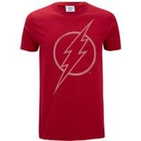 DC Comics Men's The Flash Line Logo T-Shirt - Cardinal Red - S - Red