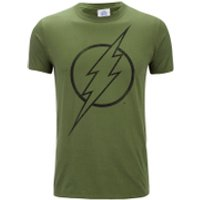 DC Comics Mens The Flash Line Logo T-Shirt - Military Green - S - Green