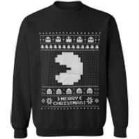 Namco Men's Merry Pac-Man Christmas Sweatshirt - Black - L - Black