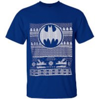 DC Comics Mens Batman Fairisle Christmas T-Shirt - Blue - M - Blue