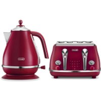 DeLonghi Elements Kettle and Four Slice Toaster - Red