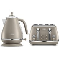 DeLonghi Elements Kettle and Four Slice Toaster - Beige