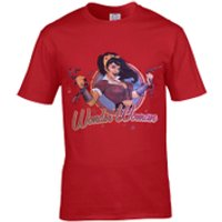 DC Comics Men's Bombshell Wonder Woman Logo T-Shirt - Red - XL - Red - Wonder Woman Gifts