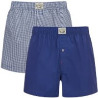 Levis Mens 300LS 2-Pack Small Check Woven Boxers - Sodalite Blue - L - Blue