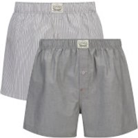 Levis Mens 330LS 2-Pack Striped Chambray Woven Boxers - Anthracite Denim - L - Black