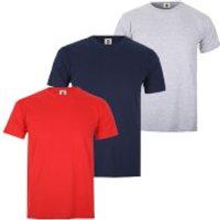 Varsity Team Players Mens T-Shirt 3 Pack - Red/Grey/Navy - XL - Red/Grey/Blue