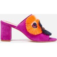 Loeffler Randall Women's Clo Floral Embroidered Suede Heeled Sandals - Azalea - US 7/UK 4 - Pink