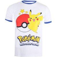 Pokemon Men's Pikachu Ringer T-Shirt - White/Royal - XXL - White - Pokemon Gifts