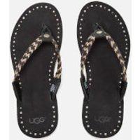 UGG Womens Navie II Leather Braided Flip Flops - Black - UK 3.5