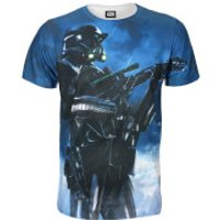Star Wars Rogue One Men's Battle Stance Death Trooper T-Shirt - Blue - M - Blue