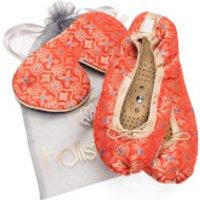 Holistic Silk Eye Mask Slipper Gift Set - Tibetan Orange (Various Sizes) - L
