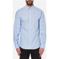 Tommy Hilfiger Mens Beach Long Sleeve Poplin Shirt - Surf The Web/Classic White - XXL - Blue