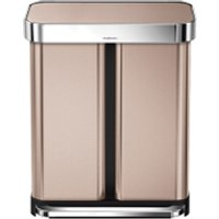 simplehuman Dual Compartment Pedal Bin with Liner Pocket - Rose Gold 58L