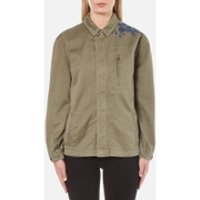 Maison Scotch Womens Army Jacket with Embroidery - Military Green - UK 12/3 - Green