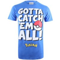 Pokemon Men's Gotta Catch Em Text T-Shirt - Royal Blue - L - Blue - Pokemon Gifts