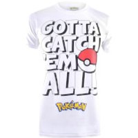 Pokemon Men's Gotta Catch Em Text T-Shirt - White - L - White - Pokemon Gifts