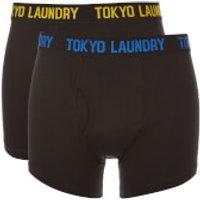 Tokyo Laundry Mens Pellipar 2 Pack Boxers - Black/Olympian Blue/Yellow Iris- S