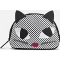 Lulu Guinness Womens Stripe Kooky Cat Crescent Pouch - Black White