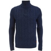 Threadbare Mens Furrow Zip Neck Cable Jumper - Indigo Marl - XXL
