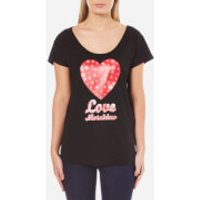 Love Moschino Womens Heart Logo T-Shirt - Black - IT 44/UK 12 - Black