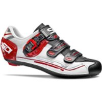 Sidi Genius 7 Cycling Shoes - White/Black/Red - EU 43.5/UK 8 - White/Black/Red