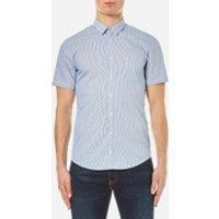 BOSS Orange Mens Eglam Short Sleeve Shirt - Open Blue - M - Blue