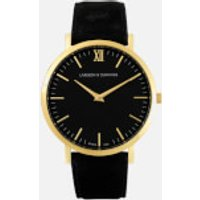 larsson and jennings lugano 40mm leather watch  gold/black/black