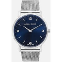 larsson and jennings lugano 38mm silver stainless steel chain metal watch  silver/navy/silver