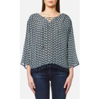 Maison Scotch Womens Viscose Printed Boho Top with Tassel Hem and Lace Up Front - Blue - 3/UK 12 - Blue
