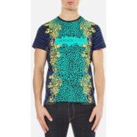 Versace Jeans Mens Leopard Print T-Shirt - Blue - M - Blue