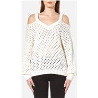 Gestuz Womens Alvi Cable Cold Shoulder Pullover - Cloud Dancer - M - Cream