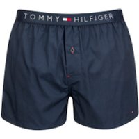 Tommy Hilfiger Mens Icon Cotton Woven Boxer Shorts - Navy Blazer - L - Blue