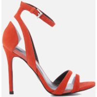 Kendall + Kylie Women's Goldie Suede Heeled Sandals - Bright Coral/Clear - UK 6/US 8 - Red