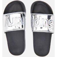 Superdry Womens Pool Slide Sandals - Chrome - S/UK 3-4 - Silver