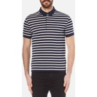 Lacoste Mens Striped Mini Pique Polo Shirt - Navy Blue/Flour - 7/XXL - Navy