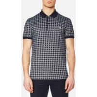 Lacoste Mens Oversized Houndstooth Printed Polo Shirt - Navy - 3/S - Navy