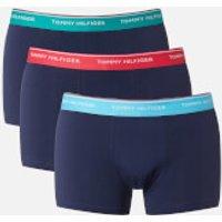 Tommy Hilfiger Mens 3 Pack Trunk Boxer Shorts - Bachelor Button/Raspberry/Columbia - XL - Black