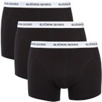 Bjorn Borg Mens Three Pack Solid Boxer Shorts with Contrast Colour Waistband - Black - S