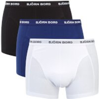 Bjorn Borg Mens Three Pack Solid Boxer Shorts - Blue Depth - S - Blue