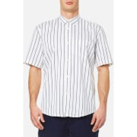 Our Legacy Men's Initial Short Sleeve Shirt - Blue/White Stripe - L - Blue