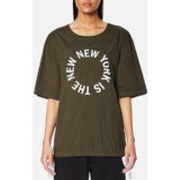 DKNY Women's Short Sleeve Logo Shirt with Side Slits and Drawcords - Military/White - M - Green