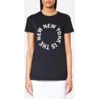 DKNY Womens Large New NY Logo Crew Neck T-Shirt - Classic Navy/White - M - Blue