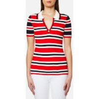Tommy Hilfiger Womens Erin Stripe Polo Shirt - Fiery Red/Peacoat/Snow White - XS - Multi