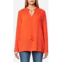 MICHAEL MICHAEL KORS Women's Embroidered Long Sleeve Top - Mandarin - XS - Orange
