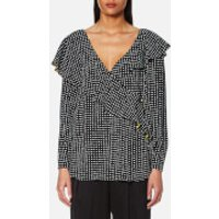 Diane-von-Furstenberg-Womens-Ruffle-Front-Draped-Blouse-Ferma-UK-8US-4-Black